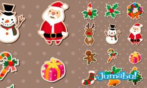 etiquetas santa reno pino navidad vela - Etiquetas de Elementos Navideños en Vectores