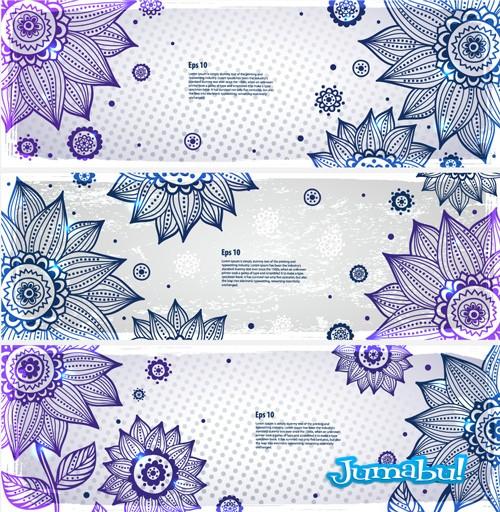 Hermosas flores azules con detalles ornamentales