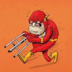 flash super heroe anciano - Caricaturas de superhéroes ancianos