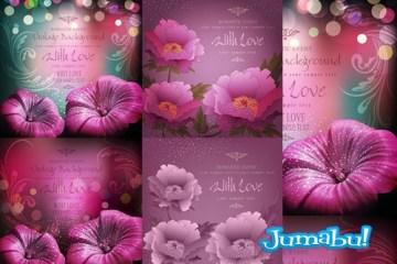 flores coloridas rosadas dibujadas - Flores de Fantasía Dibujadas en Vectores