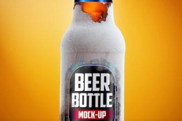 frozem - Mock Up de Botella de Cerveza Marrón en PSD