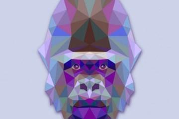 gorila vectorial gratis - Gorila Vectorizado con Textura Poligonal