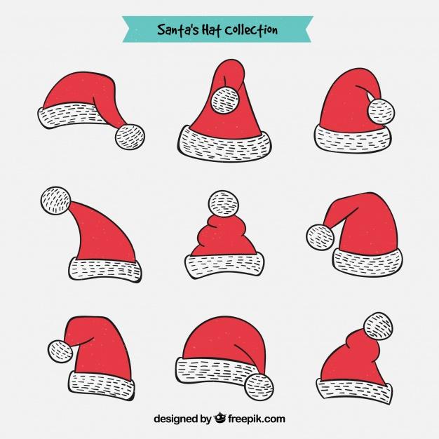 gorritos navidenos en vectores dibujados - Gorritos navideños dibujados en vectores para descargar