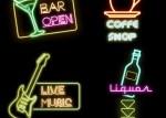 grafica bar luz rock live - Carteles con Luces de Neón en Vectores