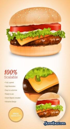 hamburguesa ilustracion iconos psd - Ilustración de Hamburguesa en Photoshop