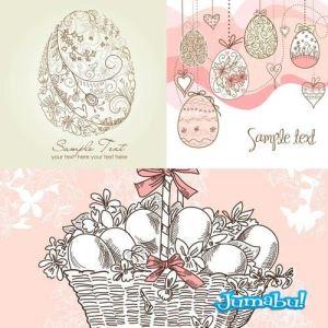 huevos pascuas vectores canasta - Huevos de Pascuas Ornamentales en Vectores