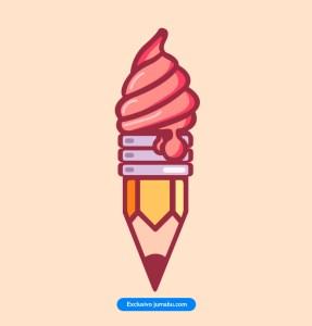 icecream helado icono lapiz - Icono de lápiz con helado en vectores