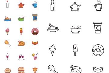 iconos alimentos - Iconos de Comida en Vectores