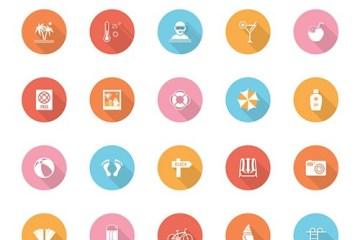 iconos circulares flat - Descarga Gratis Íconos de Verano con Diseño Flat en Vectores