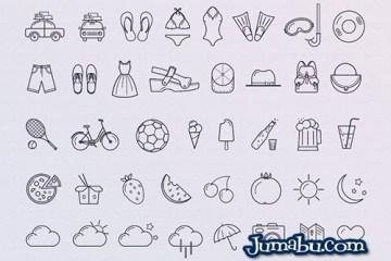 iconos lineales verano vectoriales - Iconos de Verano en Vectores para Descargar