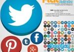 iconos planos facebook twitter pinterest linkedin - Iconos Planos de Muchas Redes Sociales
