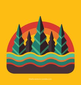iconos retro colores - Arboleda retro en vectores gratis
