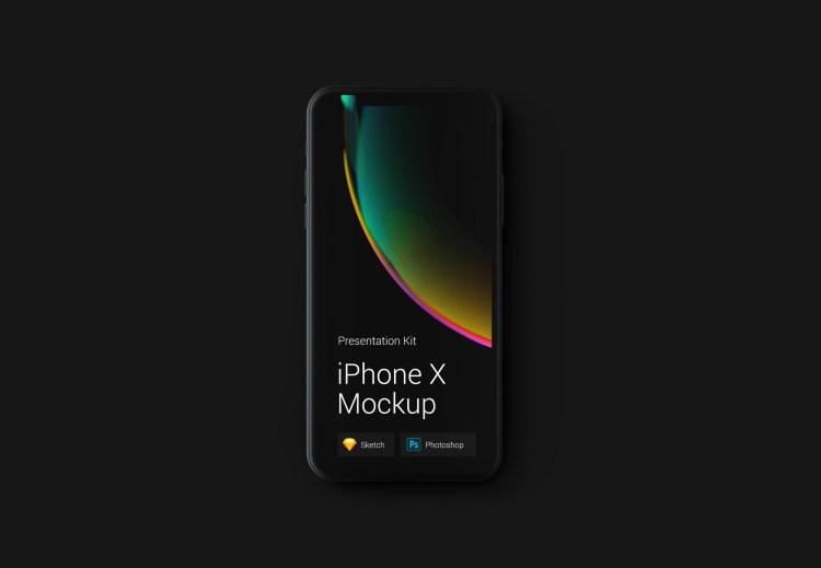 iphone x negro plantilla 1024x709 - iPhone X Mockups en PSD para descargar