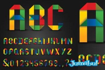 letras con estilo origami papel doblado - Letras en Vectores Super Coloridas Estilo Origami