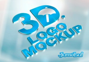 logo 3d mock up photoshop metalico - Mock Up de Logo en 3D con Efecto Metálico