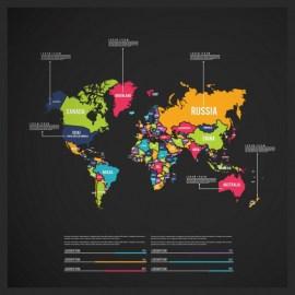 mapa del mundo en vectores de muchos colores - Mapa del mundo en vectores gratis con muchos colores