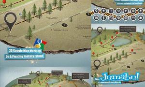 mapa google psd - Elementos en Photoshop para hacer un Mapa en 3D