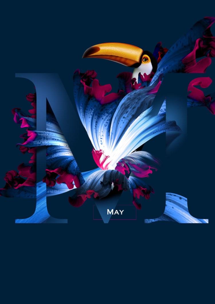 mayo 1 - Diseño de Calendario con flores y aves muy original