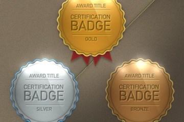 medallas oro plata bronce photoshop - Cocardas o Medallas Oro, Plata y Bronce en PSD