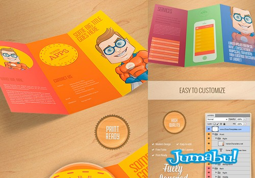 mock up broshure plantilla photoshop - Mock Up de Tríptico o Brochure en PSD con Estilo Infantil