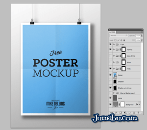 mock up poster colgante - Poster Colgante Mock Up en PSD