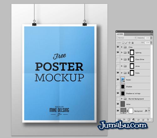 mock up poster colgante - Poster Colgante Mock Up en PSD