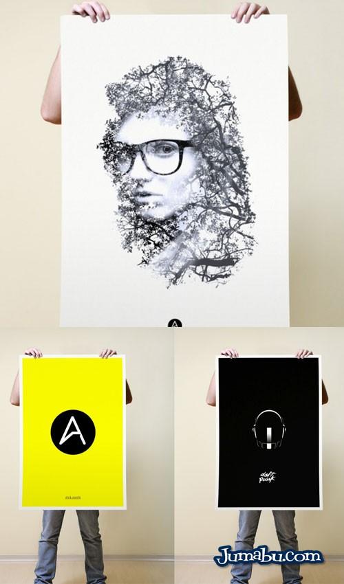 mock up poster sostenido hombre - Mock Up de Poster Sostenido por una Persona
