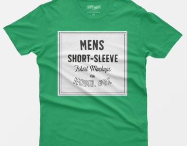 mockup camisetas hombres color verde mangas cortas - Maqueta de camisetas para hombres