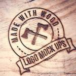 mockup logo madera - Mockup de logo sobre madera