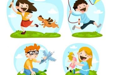 ninos felices jugando al aire libre - Vectores de Niños Felices Jugando
