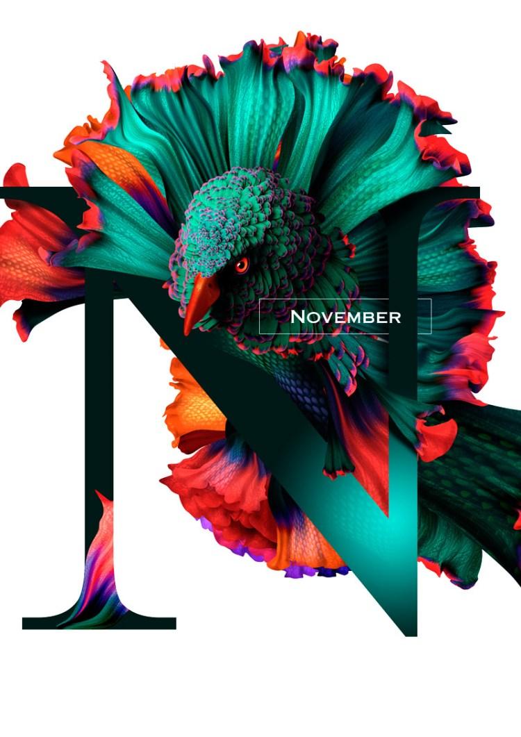noviembre 1 - Diseño de Calendario con flores y aves muy original