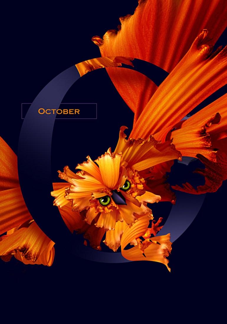 octubre 1 - Diseño de Calendario con flores y aves muy original
