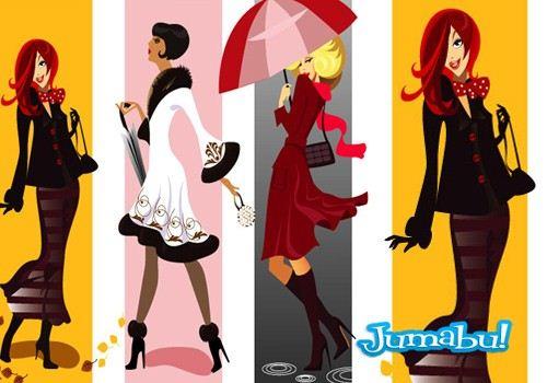 paraguas-dibujos-mujeres-moda-vectores