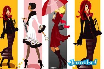 paraguas dibujos mujeres moda vectores - Dibujos de Mujeres con Vestimentas de Moda en Vectores