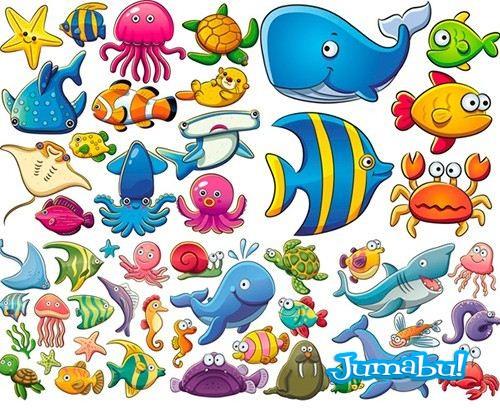 pulpos-ballenas-mar-vectorizados