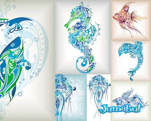 peces-tibales-tatoo-vectores