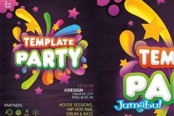 plantilla poster afiche fiesta - Invitación a Fiesta en PSD - Cartel -Flyer