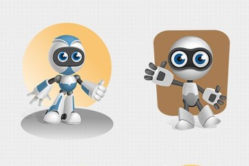 robots caricaturas animados - Simpáticos Robots en PSD!