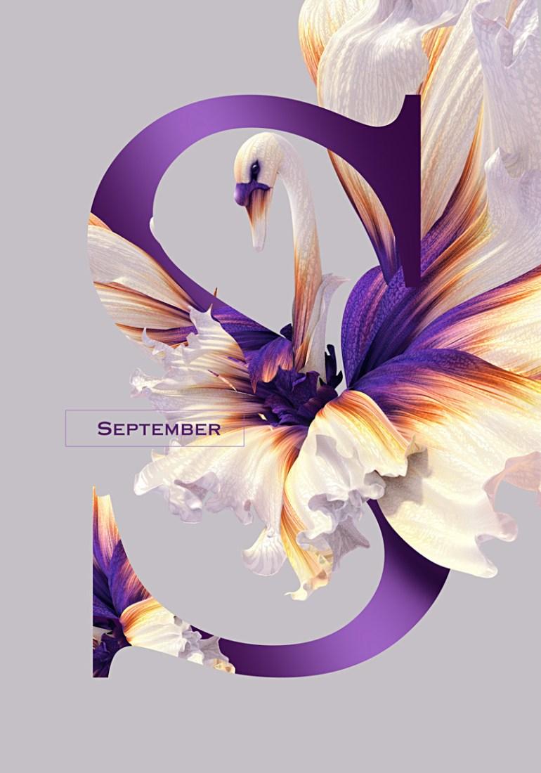 septiembre 1 - Diseño de Calendario con flores y aves muy original