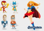 super heros vectores gratis - Ilustraciones para Descargar de SuperHéroes en Photoshop