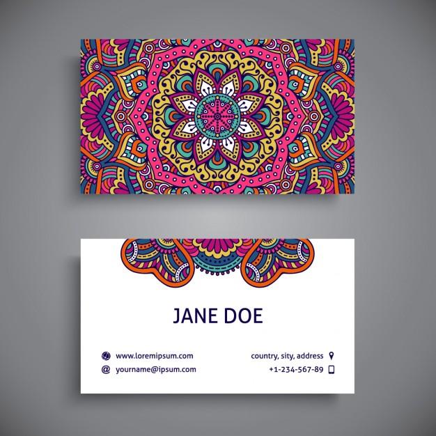 modelos de tarjetas personales para descargar con mandalas jumabu