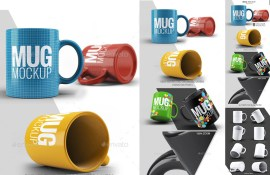 tazas mock up 3d realistas - Template de Tazas de Café para Colorear con Photoshop