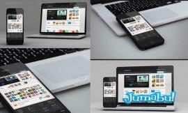 telefono laptop mock up - Teléfono y Notebook Mock Up - Plantillas para Presentar tus Diseños Web en PSD