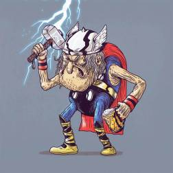 thor viejo anciano - Caricaturas de superhéroes ancianos