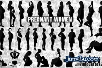 vector pregnant - Siluetas de Mujeres Embarazadas en Vectores