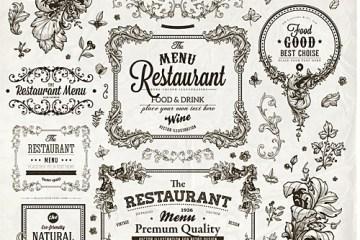 vintage restaurante ornamentos arabescos - Arabescos Vintage para Restaurates en Vectores