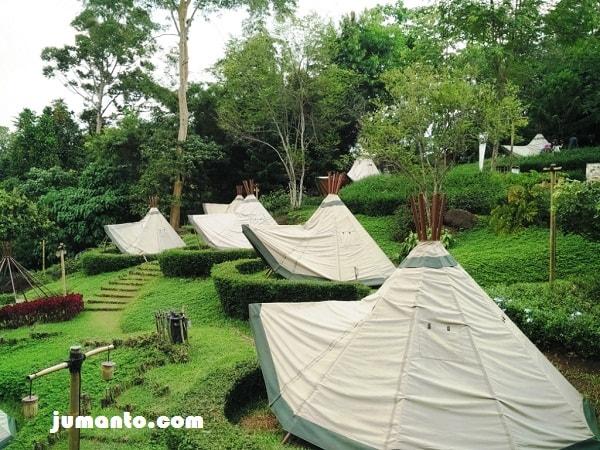 gambar tenda camping cantik di wisata alam wawai lampung
