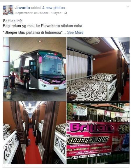 sleeper bus pertama di Indonesia
