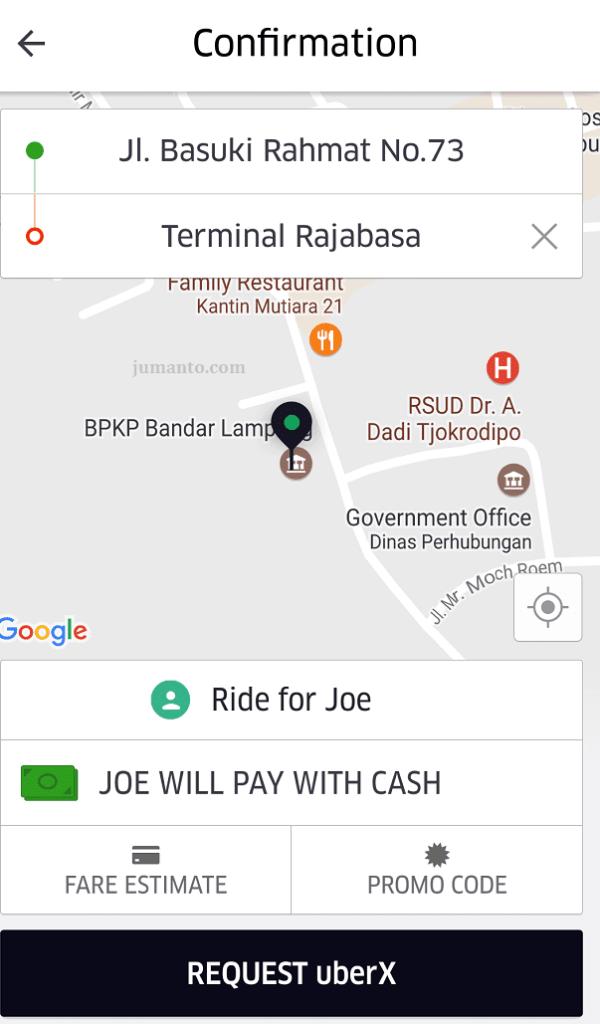 cara pesan uber taxi lampung