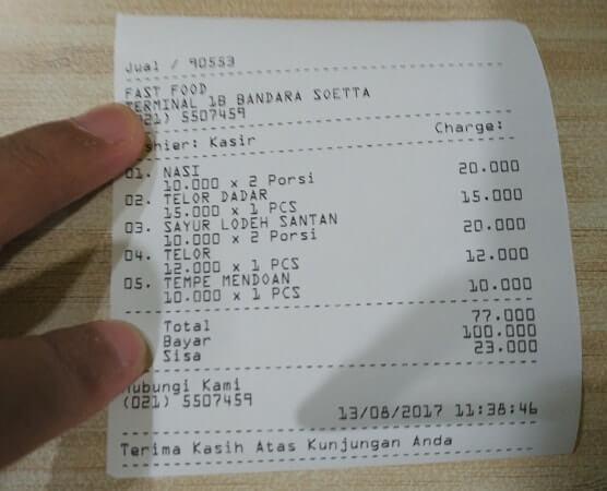 harga makanan di terminal 1 tebandara soekarno hatta